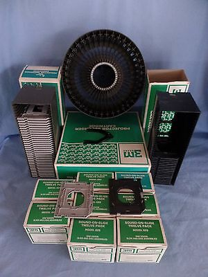 143 vintage 3M Sound on Slide DISC Model 625, CAROUSEL , 2 projector CARTRIDGES