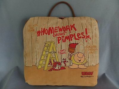 "1979 ZIGGY lap desk Tom Wilson ""Homework Causes Pimples"" 11"" x 12"" opens up"