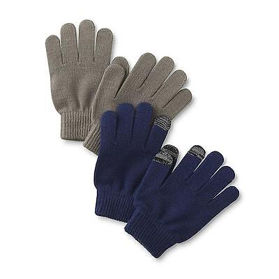 Athletech Boy's 2-Pack Knit Gloves Winter Ski Snow Warm NEW Navy Blue Steel Gray