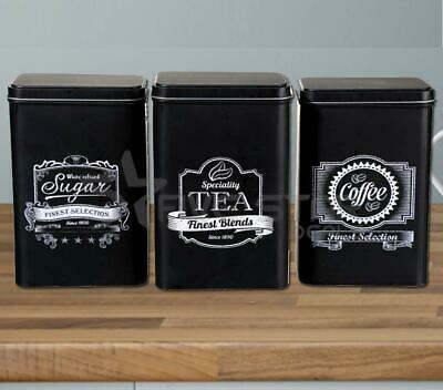 3Pc Retro Tea Coffee Sugar Kitchen Storage Canisters Jar Tin Set Canister Black