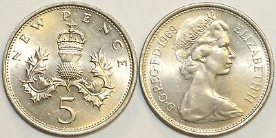 1968 to 1989 Elizabeth II Cupro Nickel Decimal Large 5p Your Choice of Date