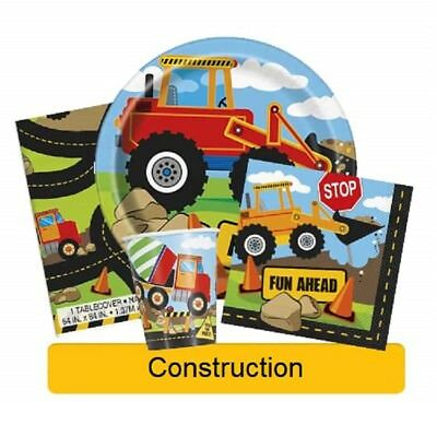 CONSTRUCTION Birthday Party Range - Tableware Banners Balloons & Decorations(UQ)