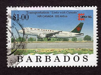 1996 Barbados $1 Airbus Industrie A320 SG1091 GOOD USED R32883