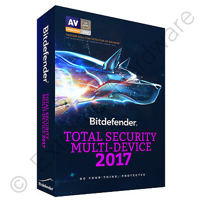 Bitdefender Total Security 2018 Antivirus 3 PCs / Users 1 Year Activation Key