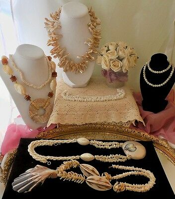 Vintage Shells & MOP Necklaces Jewelry Lot Hawaii & more Pukka Shells GORGEOUS!