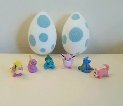 3 hand made pokemon inspired egg bath bombs with toys