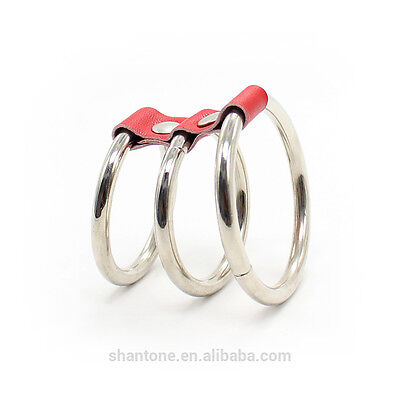 (D) 3 X Metal Penis Rings ! Sexy Red Studded Fetish Bondage
