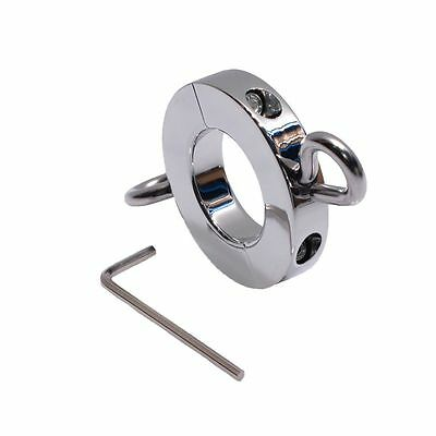 (d) PENIS RING !! SOLID STEEL CHROME FINISH CAGE METAL BALL STRETCHER CBT