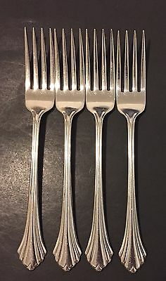 Oneida Bancroft Stainless Flatware 7-1/4 Inch Forks Set Of 4