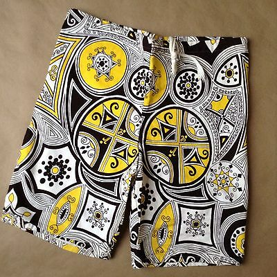 Men's Vintage CAMPUS Psychedelic Surf Shorts Size S  28-30 USA Made Brown/Yellow