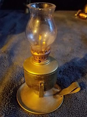 "Vintage Miniature Brass Oil Lamp ""great Shape:"
