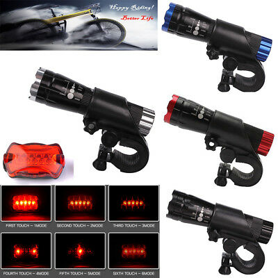 4 x Waterproof Lamp Bike Bicycle Front 5 LED Head Light +&Rear Safety Flashlight