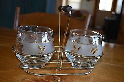 Retro Starlyte Libbey Gold FROSTED GLASS Leaf Cream Sugar w/HOLDER