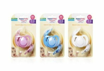Happy Baby 3 Pack Cherry Soother (Assorted Colours) - Extra Large
