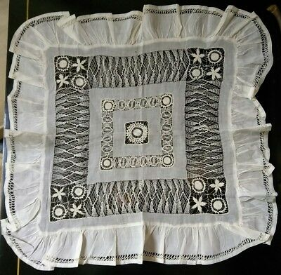 Antique hand embroidery drawn work lace pillow cover doily or large handkerchief