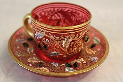 Antique Rare Moser Cup And Saucer 19Th Century