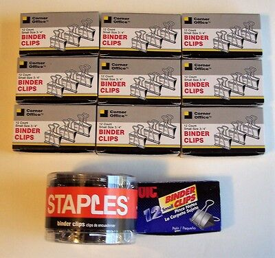 """Bulk Binder Clips Small Size (3/4"""") Silver And Black Asst Brands All Nib 160 Ct"""