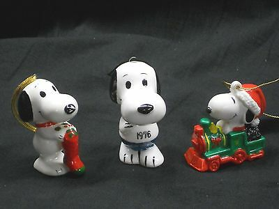 Lot Of 3 Vintage Snoopy Ornaments, 2 Ceramic, 1 Rubber, Train, Stocking, 1976