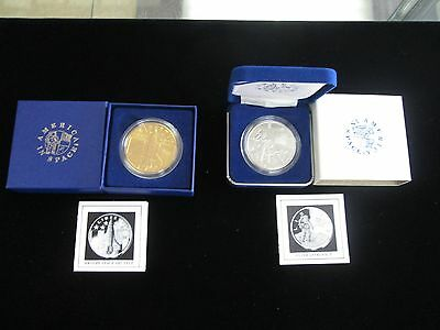 "1988 Young Astronauts ""America In Space"" Coins Proof Silver Bronze COA VERY RARE"