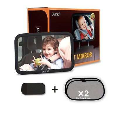 Baby Mirror for Infant Child Toddler Rear Ward Safety View, w 2 FREE sun shade