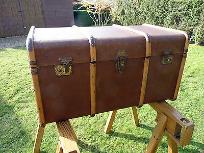 Large Vintage Industrial Bentwood Steamer Trunk Coffee Table Box Chest