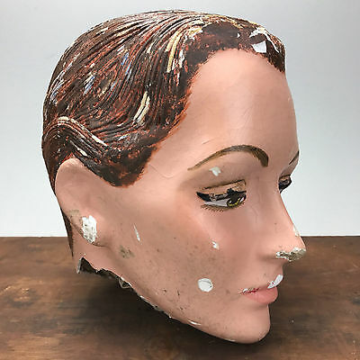 Vintage Antique Plaster Female Woman Mannequin Head Store Display Paper Mache
