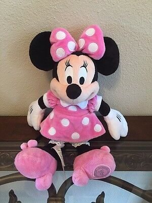 "Disney Minnie Mouse 11"" Plush Stuffed Doll in Pink Polka Dot Dress"