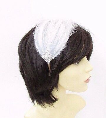 Light Grey White Silver Feather Headpiece 1920s Headband Fascinator Flapper 3486