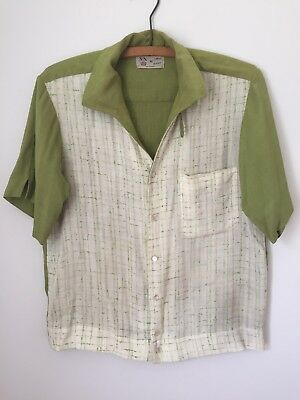 VINTAGE 1950'S FLECK PATTERN RAYON ROCKABILLY SHIRT Button Down Loop