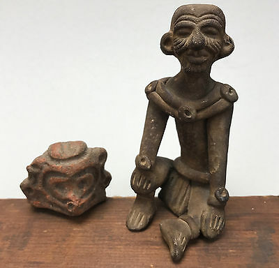 Antique Vintage Clay Handmade Carved Stone Figurines Scupltures Tribal Primitive