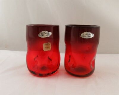 Pair- Blenko Glass Tangerine (Amberina)  More Red Pinched Tumblers 4 3/4""