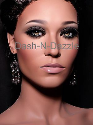 Female mannequin wig bust GREEN GLASS EYES!