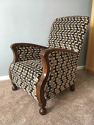 Reupholstered and Restored Art Deco cloud back armchair - Zoffany fabric