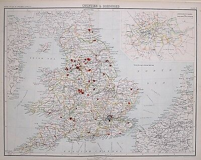 1897 Antique Victorian Map Counties & Boroughs London Parliamentary Divisions