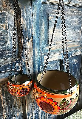SET OF TALAVERA POTTERY HANGING BOWL MEXICAN PLANTERS W/ CHAIN - green sunflower