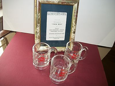 3 Vintage Miniature Twin Kiss Root Beer Mugs & Framed Ad Robesonia PA