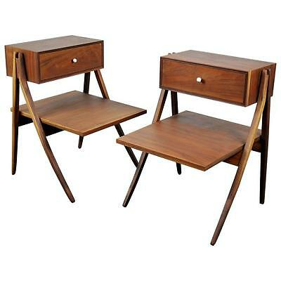 Pair Kipp Stewart MacDougall Nightstands Drexel Declaration Side End Tables 60s