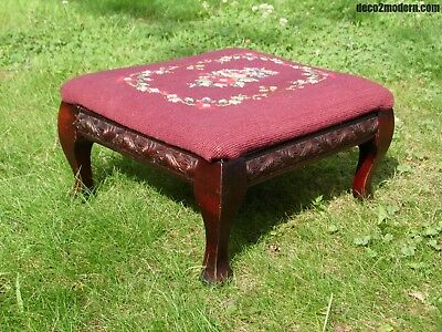 Vintage Queen Anne Victorian style Floral Needlepoint Cricket Foot Stool Ottoman