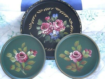 3 Vintage French Country Cottage Tole Trays Green & Black w/ Painted Pink Roses