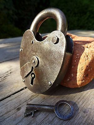 Antique Vintage Padlock with one key, working order, hobby, double lock, 25-11