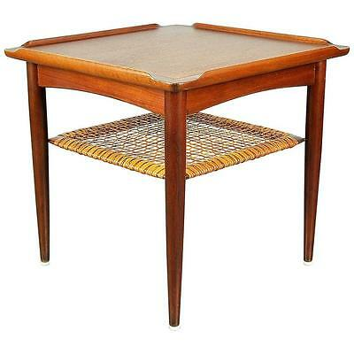 Danish Modern Poul Jensen Teak Side End Table Selig Two-Tier Caned Mid-Century