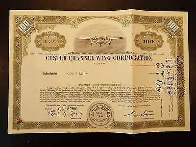 Custer Channel Wing Corporation Class B Stock Certificate 1968