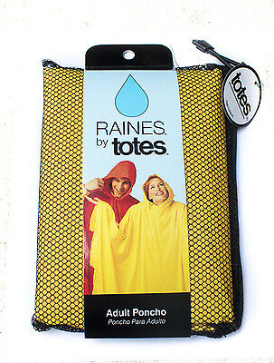 TOTES RAIN PONCHO WATERPROOF CHOOSE: ADULT, YOUTH, Yellow, Green, White, Grey