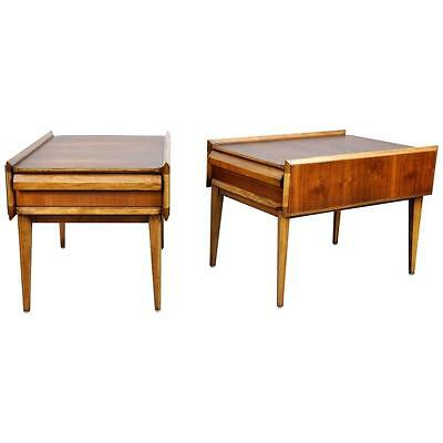 Pair Lane First Edition Side End Tables Vintage Mid-Century Danish Modern 1960s
