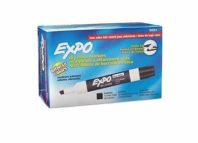 New Expo Low Odor Chisel Tip Dry Erase Markers Black 12 Pack 80001 12 Count