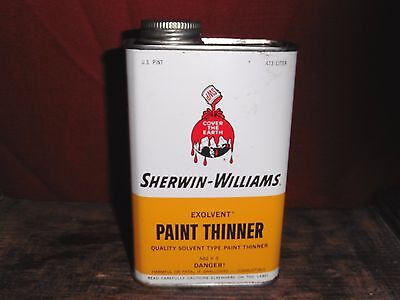 Vintage Sherwin-Williams Empty Paint Thinner Can 1 Pint