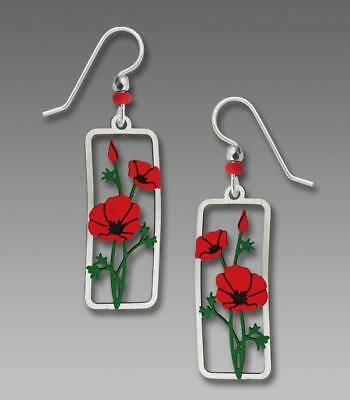 Sienna Sky Earrings 925 Sterling Silver Hook Etched Brass Hand Painted Red Poppy