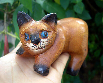 Hand Carved Wooden Cat Figurine Crafted Wood Kitty Kitten handmade rest relaxing