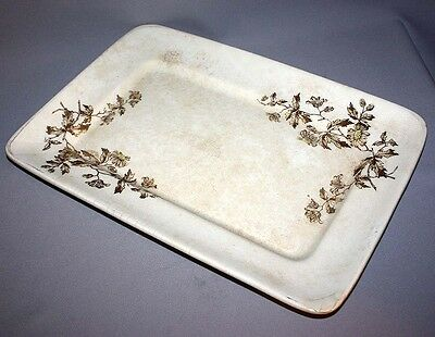 "Antique D & D ENGLISH IRONSTONE PLATTER Flowers England 15"" x 10"""