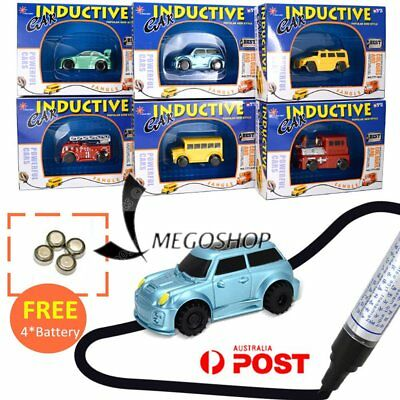 2017 Magic Follow Any Drawn Line Pen Inductive Toy Car Truck Bus W/ Battery Pen@